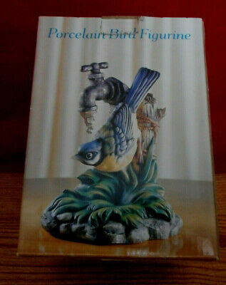 Pocelain Country Primitive Faucet Blue Jay Bird Statue Figurine 6 Inches Tall B2