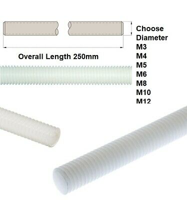 250mm NYLON PLASTIC THREADED ROD BAR STUDDING ALLTHREAD M3 M4 M5 M6 M8 10 12 16