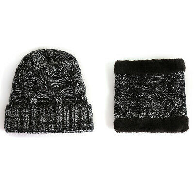 Winter Warm Thermal Beanie Knitted Hat Scarf Set Thick Ski Skull Cap Girls/Boys