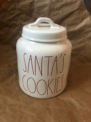 """Rae Dunn """"SANTA'S COOKIES""""  Canister HG White Red Letters LL Christmas Cookies"""