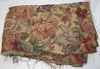 Creamy Dark Taupe Floral Upholstery Cotton Fabric Remnant