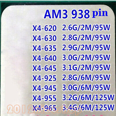AMD Athlon II X4 620 X4 630 X4 635 X4 640 X4 645 Socket AM3 CPU Processor