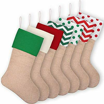 Aneco 7 Pack 16 Inches Burlap Christmas Stockings Xmas Hanging 7 Color 1