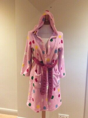 Joules Girls Hooded Dressing Gown Robe 9-10 Years Pink With Spots