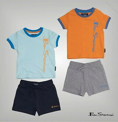 2 Piece Boys Ben Sherman Ribbed T Shirt And Shorts Set Sizes Age from 1 to 4 Yrs