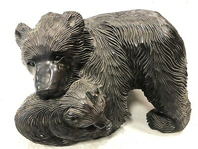 A Fine Antique Japanese Carving Of A Bear And Cub By The Ainu People Of Hokkaido