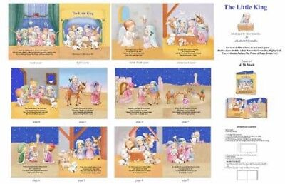 Christmas Little King Nativity Cotton Quilting Fabric Book Panel