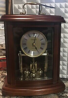 Beautiful WOOD/GLASS Seiko MANTLE CLOCK Spinning Motion NEW IN BOX nos