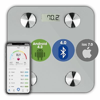 Bathroom Weighing Scales Smart Bluetooth Android and Apple Compatible White