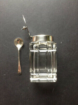 Antique Pretty Cut Glass 9.5 cm Mustard EPNS Top & Sterling Spoon