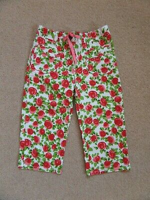 WORN ONCE! Girl's MINI BODEN Crop Floral Trousers Age 8 Adjustable Waistband