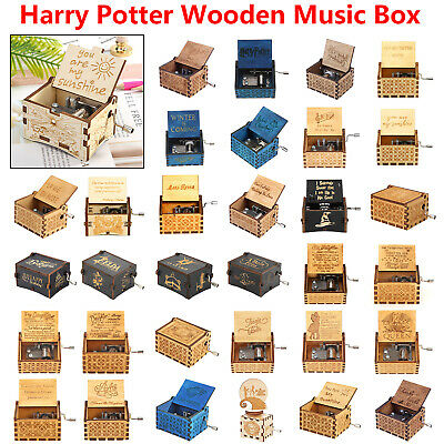 Wooden Music Box Harry Potter Game of Thrones Star Wars Engraved Kids Toys Decor