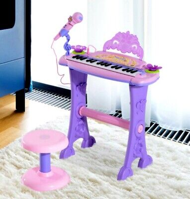 Kids Electric Piano Electronic Keyboard Toy Gift Instrument W Microphone Stool