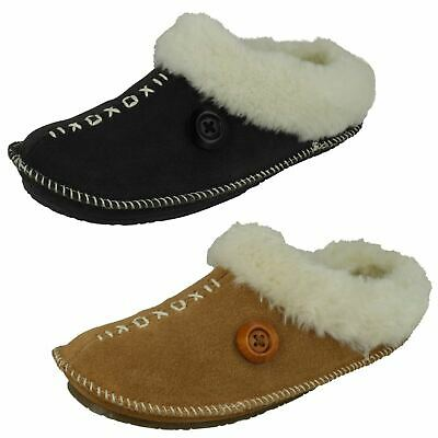 LADIES EMILY RIPTAPE STRAP FASTENING FLORAL COSY WARM INDOOR WINTER SLIPPERS