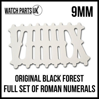 • Original Black Forest Cuckoo Clock Dial, 9mm Roman Numerals White - Full Set •