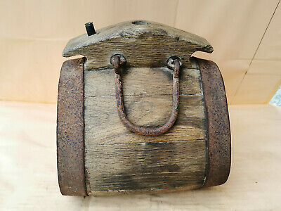 Antique Primitive Old Wooden Vessel Keg Barrel Big Iron Banded Rustic Farm 19Th