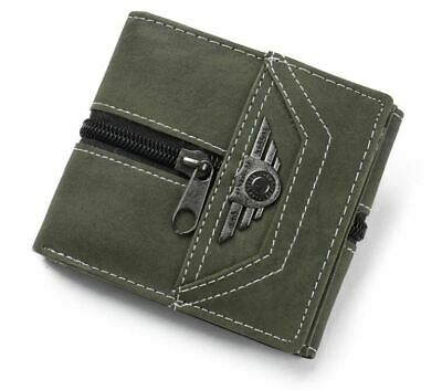 Boys Wallet Green with Zipper Trifold Mens Coin Compartment Photo ID Card Holder