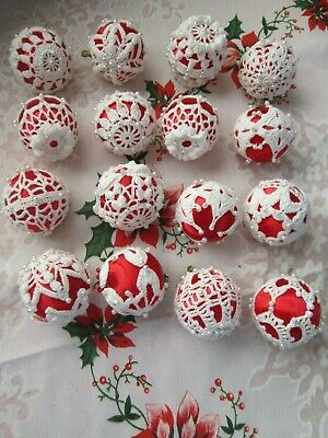 🎄16 RED Satin Ball Christmas Ornaments Crochet-Beads Vintage🎄