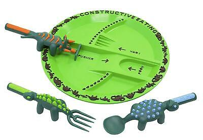 Constructive Eating Dino Children's Plate and Cutlery Spoon Fork & Pusher