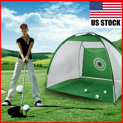 7ft Golf Practice Cage Driving Net Training Aid Mat With Driver Irons & Free Bag