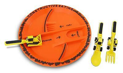 Constructive Eating Children's Plate and Cutlery Spoon Fork & Pusher Utensils