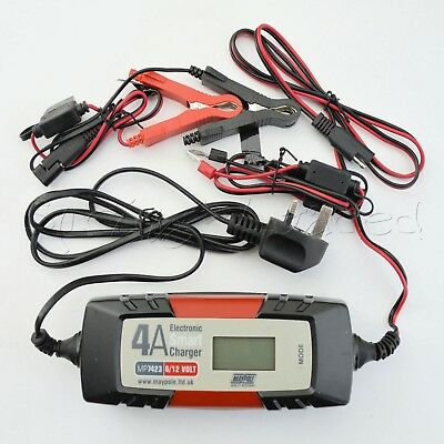 MAYPOLE Electronic Car Battery Charger 4 AMP - Fast/Trickle/Pulse Modes, MP7423