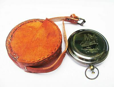 Nautical Rose London Compass Marine Collectible Pocket Compass With Letaher Case