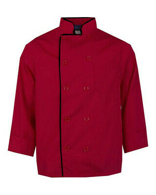 Restaurant Chef Coat Kitchen Chef Coat Long Sleeve Chef Coat Red and Black Coat