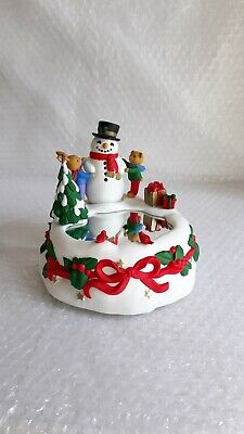 Vintage Snowmen and Friends Christmas Rubber  Plastic Music BOX