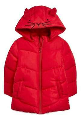 Next Girls Coat Cat Red Jacket  Age Padded Fleece Lined BNWT SP Various Sizes