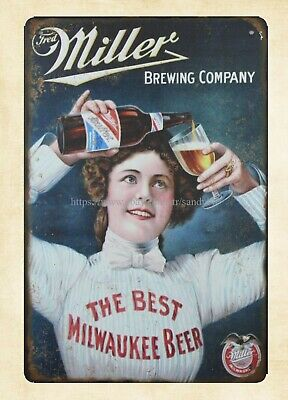 Miller BREWING COMPANY BEST MILWAUKEE BEER metal tin sign home decor