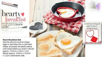 AVON HEART Breakfast Set~Includes Toast Stamper~Egg & Pancake Silicone Mould