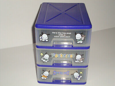 Vintage Sanrio 1997 Pochacco 3 Tier Drawer Storage Box 90S Kids Stationery Holde