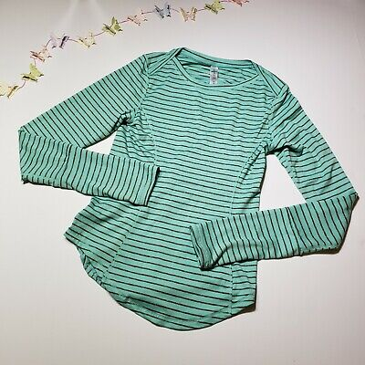 90 Degree By Reflex Girls Striped Green Athletic Shirt Top Size Large 12