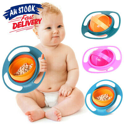 360° Rotating Baby Feeding Bowl Non-Spill Kids Gyro Avoid Food Spilling Toddler