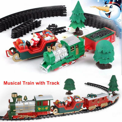 22Pcs Christmas Musical Light Train Track Trees Set Kids Gift Toys Xmas Decor aa