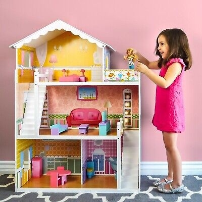 Large Wooden Dollhouse Barbie Doll House Pink Children Kids Pretend Play Home