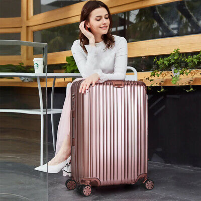 24'' Cabin Hard Shell Travel Trolley Hand Luggage Suitcase Bag Case Rosegold