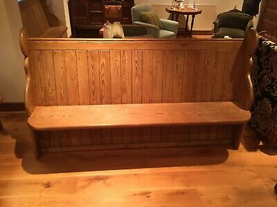 Round ended pitch pine small church pew