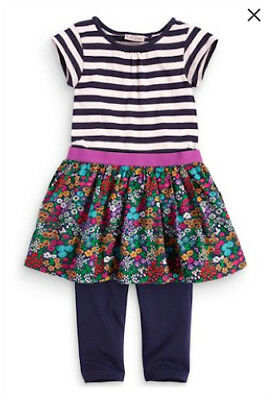 Bnwt Next Striped And Floral Dress And Leggings Set, Size 8 Years