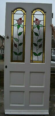 863 X 2082mm. Leaded light stained glass front door. R1005a. DELIVERY OPTION!
