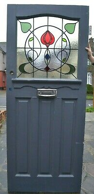 857 x 2080mm. Front door NEW leaded light stained glass. R864. DELIVERY OPTIONS!