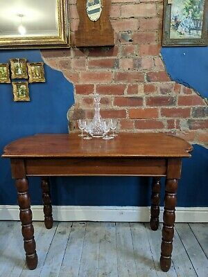 Unusual shaped Victorian dining Table With Bobbin Turned Legs Single Plank Top