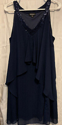 sl fashions dress 14 V Neck With Sequins Navy Blue