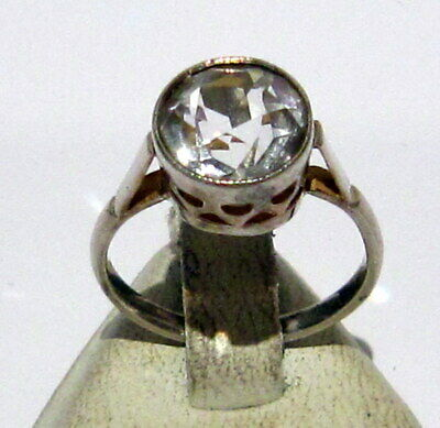 Vintage Early 20Th Century Silver Ring With White Sapphire Stone, Open Work #766