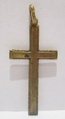 OUTSTANDING VINTAGE BRASS CROSS,ENGRAVING,EARLY 20th. Century !!! # 63A