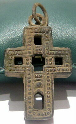 RARE BYZANTINE 'RELIQUARY' CROSS PENDANT COPPER-ALLOY, c.9th-10th Century  # 198