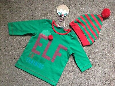 BNWT Next Boys Girls Elf Christmas Tshirt Top & Hat Set Size Age 0-3 Months £9