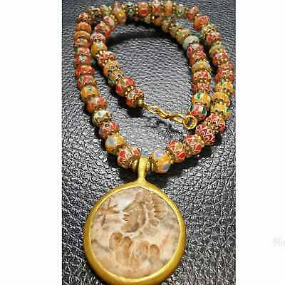 Old wonderful Glass beads Necklace with intaglio stone pendant  # 55