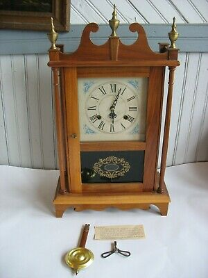 Antique Walnut  Mahogany Mantle Clock Reverse painted panel metal face
